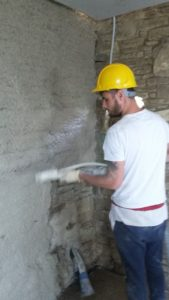 Application of Diathonite internal wall insulation