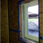 Airtightness detailing around PERFORMANCE window at Greendale Cottage