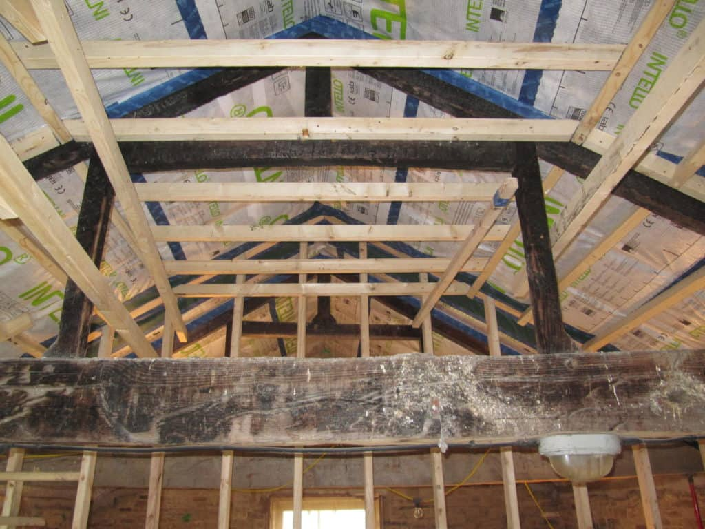 Barn roof under construction at Lower Royd radical retrofit