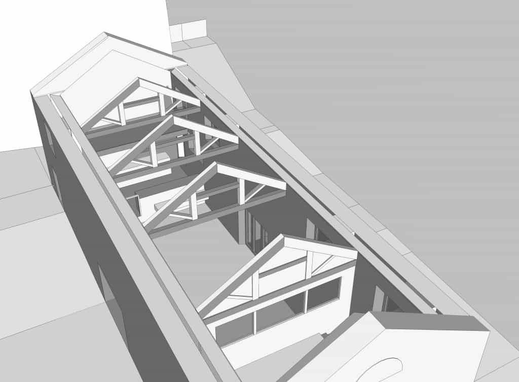 Cre8 Barn - looking down from NW corner, roof hidden but wall thicknesses showing cavity between the old wall and the new