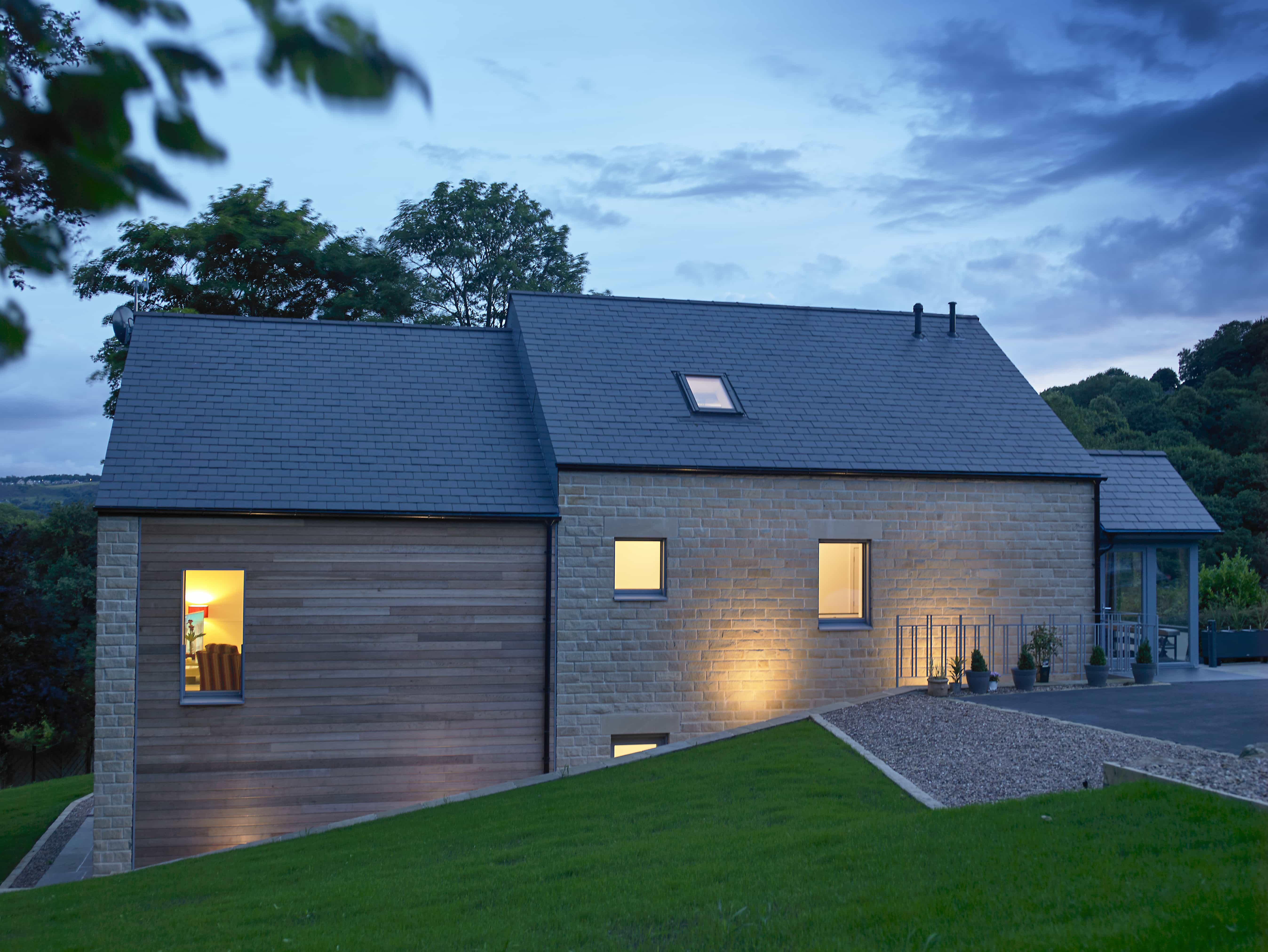 Golcar Passivhaus at dusk