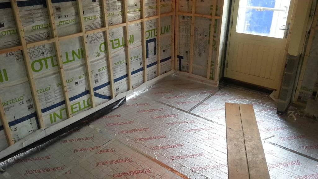 Insulating ground floor at Cumberworth radical retrofit