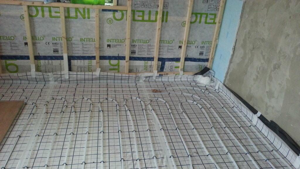 Underfloor heating at Cumberworth radical retrofit