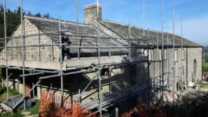 Roof under construction at Lower Royd radical retrofit