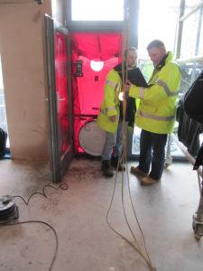 Air pressure test at Denby Dale Passivhaus