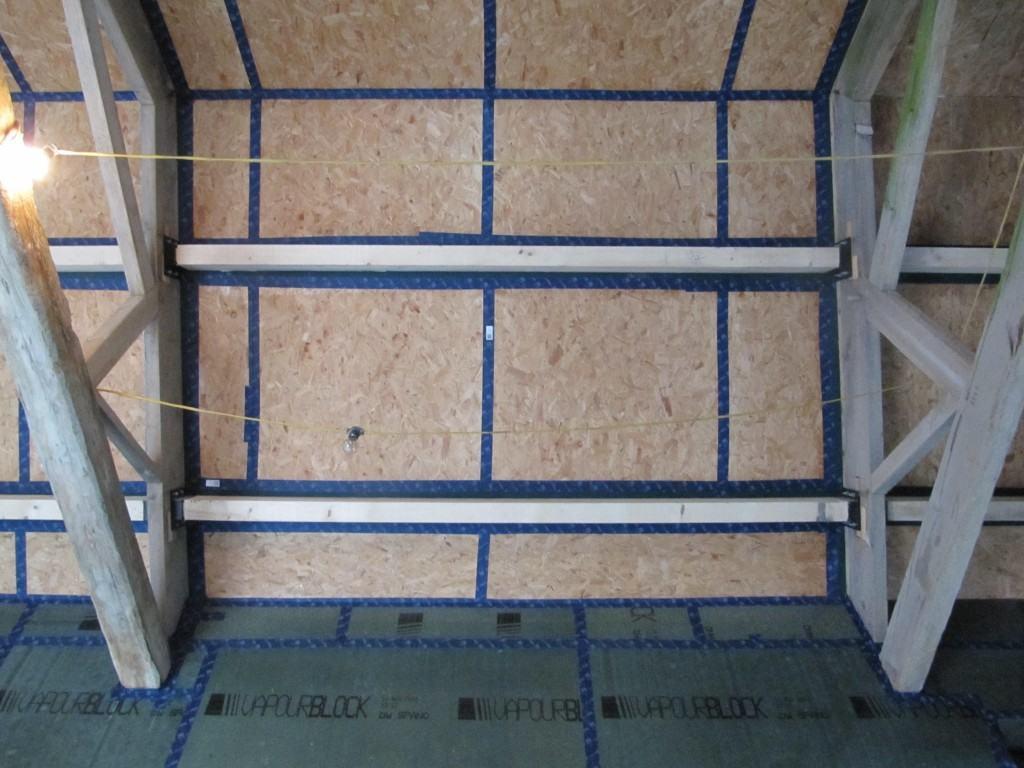 Airtightness in roof Cre8 Barn Stirley Farm EnerPHIT