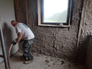 Applying Diathonite at Holmfirth Farmhouse retrofit