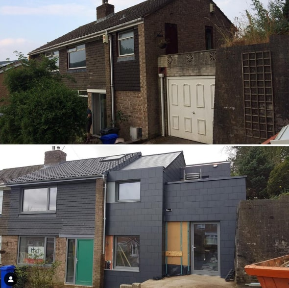 Before and after photos of Paul Testa's own radical retrofit project