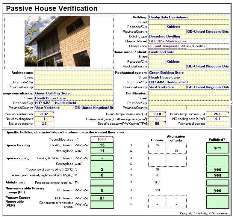 Denby Dale Passivhaus PHPP