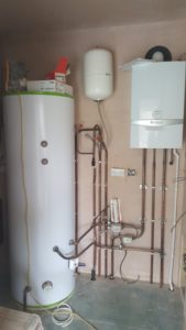 Boiler and water tank at Kirkburton Passivhaus