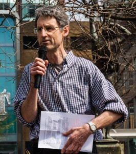 Chris Herring at Leeds climate rally Forwards not Backwards