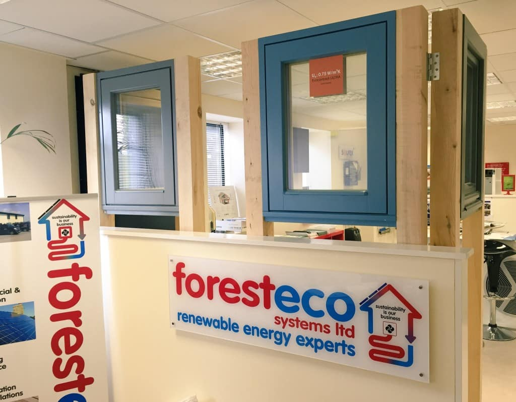 Green Building Store windows at Forest eco Ltd showroom