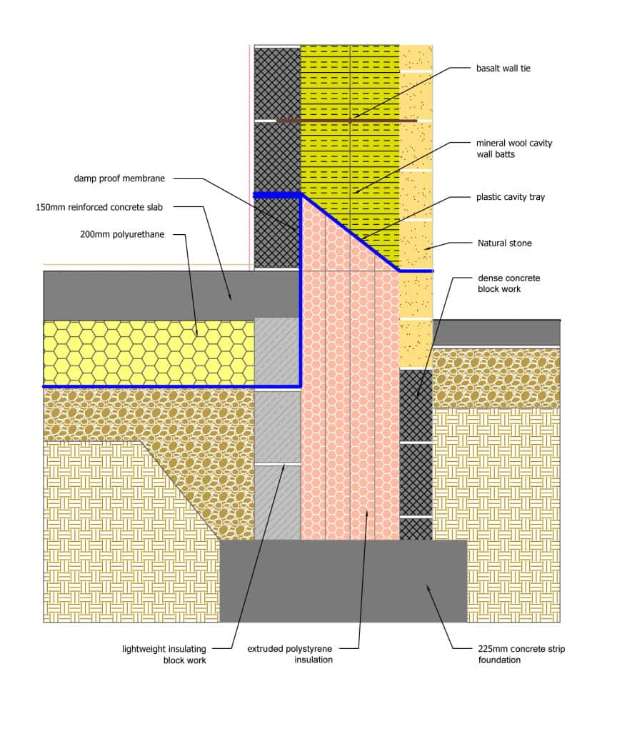 Golcar Passivhaus ground floor and foundations detailing. Copyright Green Building Store 2014