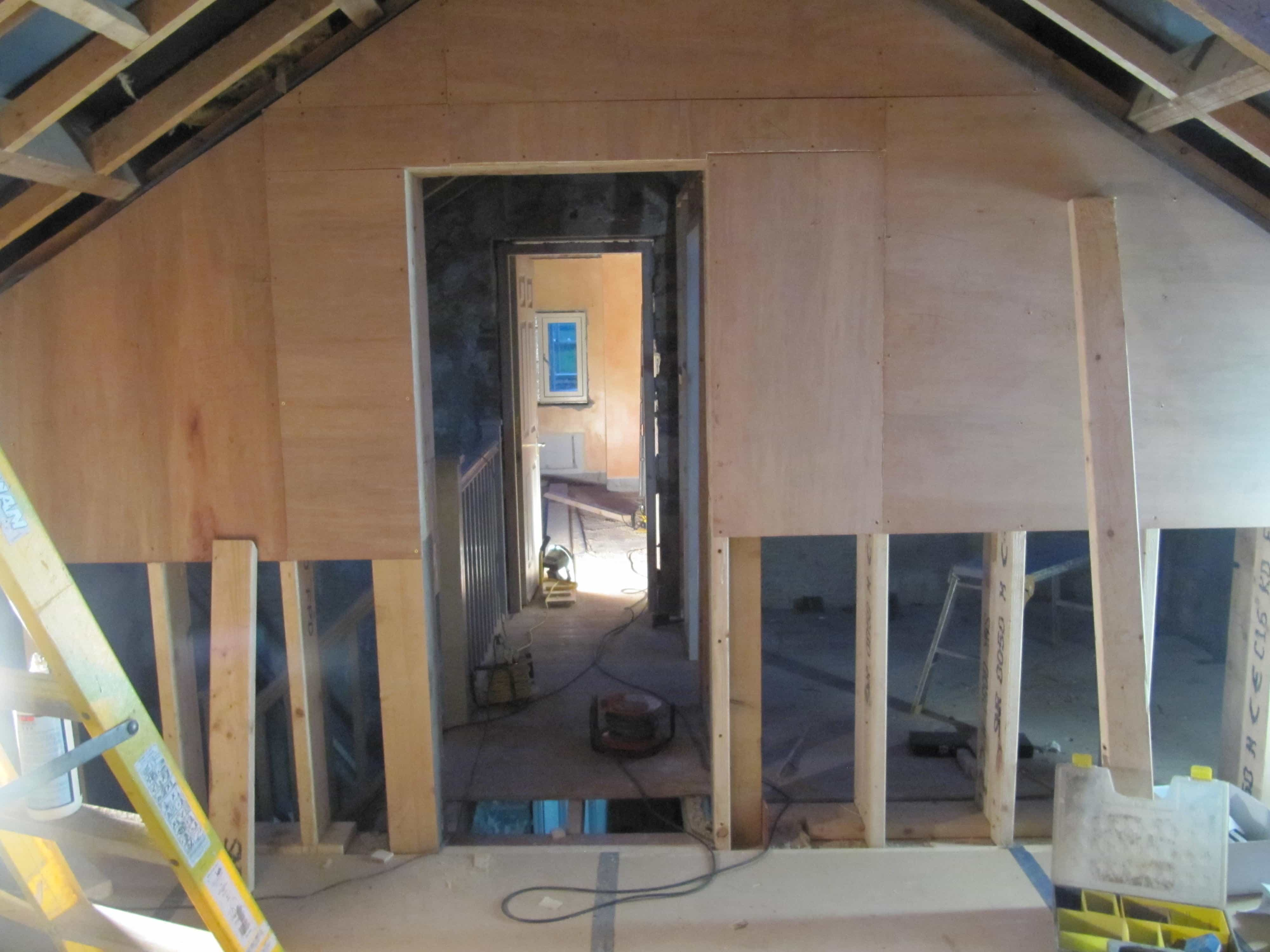 Cumberworth radical retrofit iwi internal wall insulation green doorways within roof trusses at cumberworth radical retrofit solutioingenieria Image collections