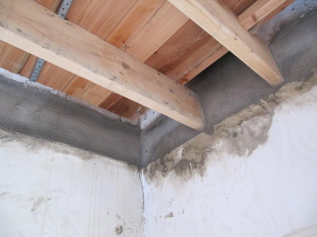 Parging between intermediate floors at Cumberworth radical retrofit