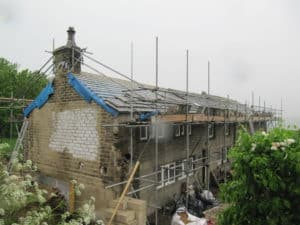 Roof under construction at Lower Royds radical retrofit