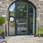 ULTRA triple glazed entrance door with sidelights at Lower Royd radical retrofit