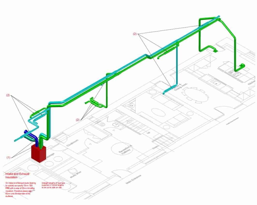 MVHR layout at Lower Royd radical retrofit