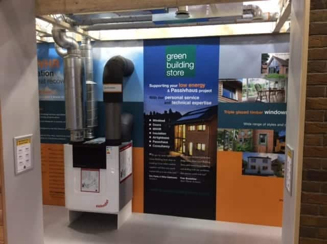 MVHR system display at Green Building Store stand at NSBRC Swindon