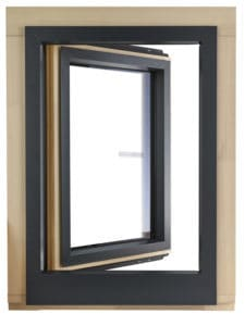PERFORMANCE ULTRA triple glazed timber alu clad window with narrow installed sightlines with the timber frame designed to be wrapped within external wall insulation