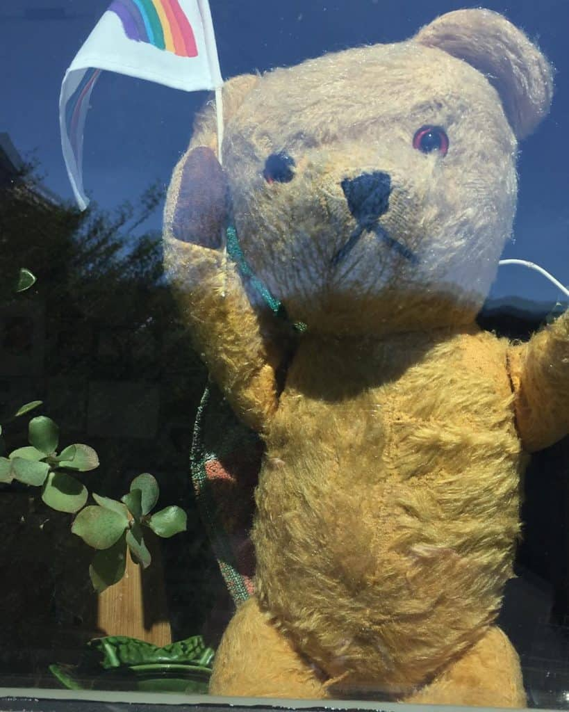 50. Peter Bear showing Solidarity with key workers. Submitted by Kate Tunstall
