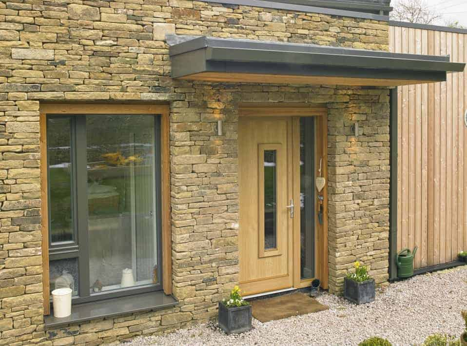 ULTRA triple glazed timber window and oak entrance door at low energy selfbuild project Yorkshire