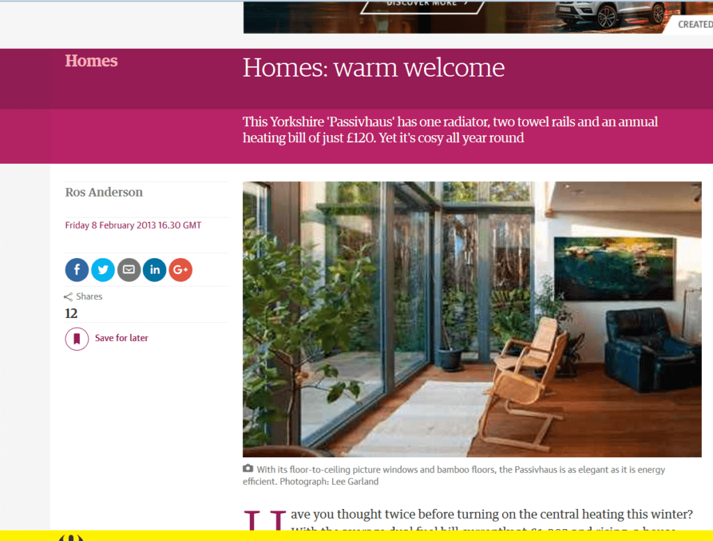 Warm welcome - Guardian Weekend feature on Denby Dale Passivhaus