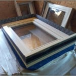 Airtightness taping around a PERFORMANCE window prior to installation at Greendale Cottage