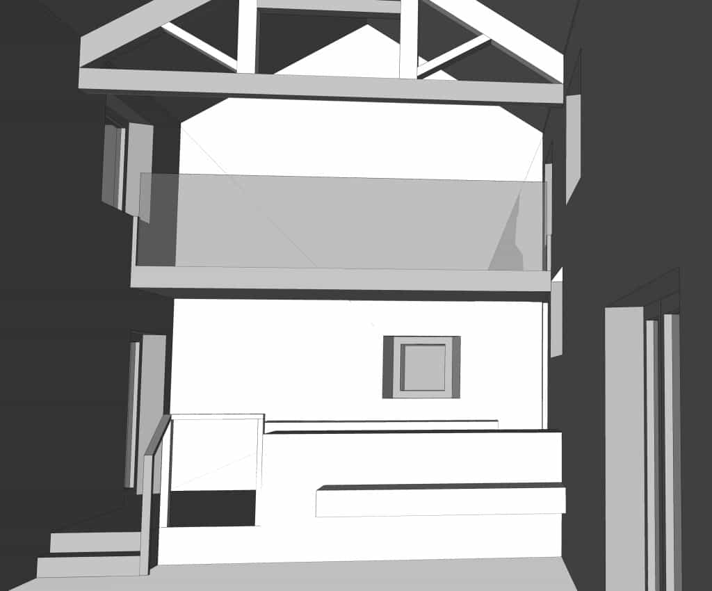Inside barn looking towards kitchen