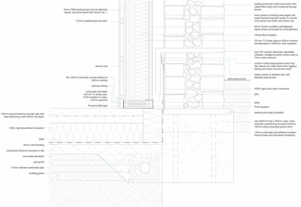 Stirley Farm floor wall junction detail (CAD drawing: Sue Heywood)