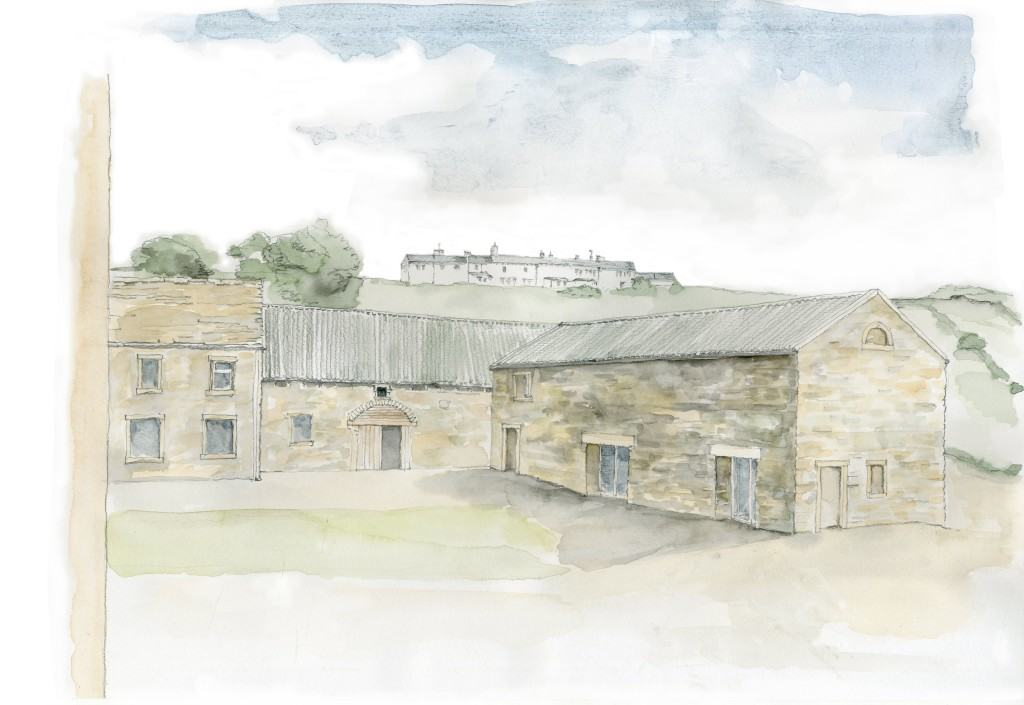 Cre8 Barn Stirley Community Farm EnerPHit watercolour view