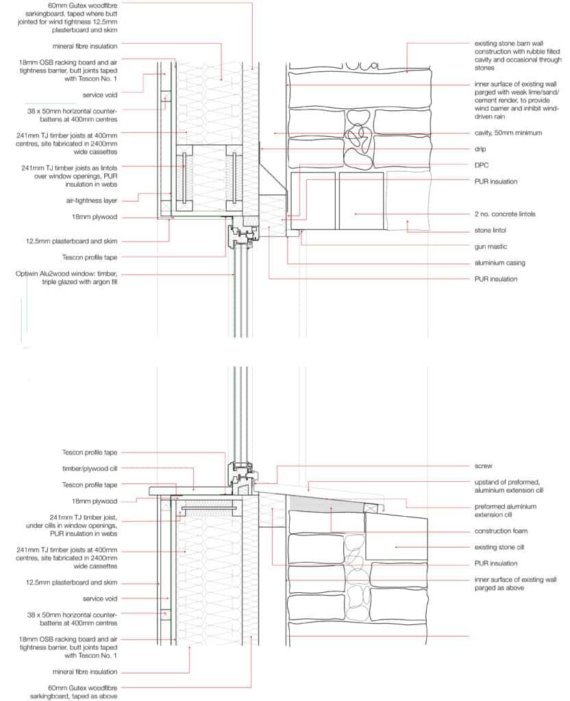 Cre8 Barn Stirley Farm EnerPHit window detailing